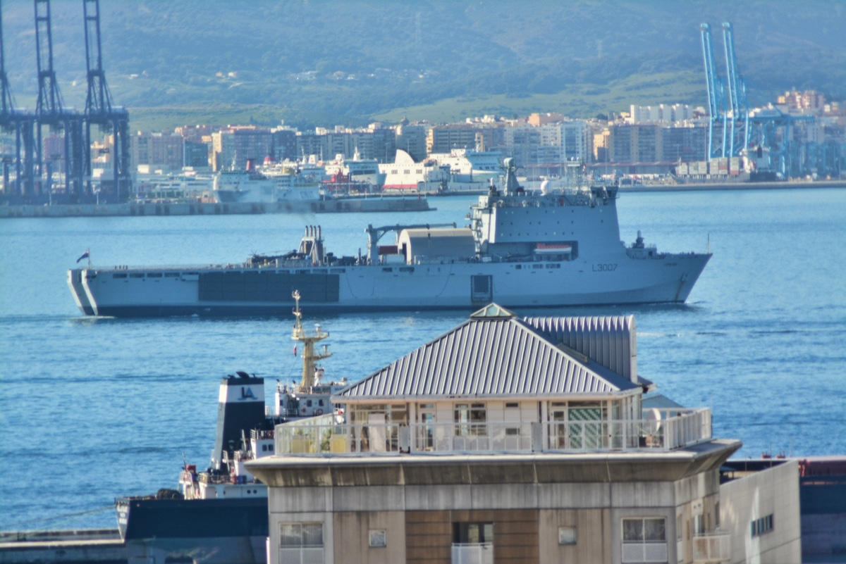 Gibraltar - HMS Bulwark arrives for Amphibious Landing Exercise