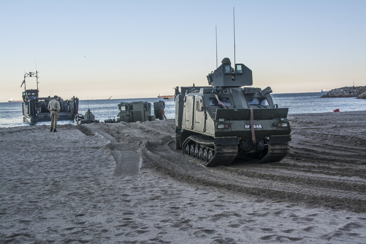 Gibraltar - Preparations for Operation Sea Snake start at Eastern beach with tanks