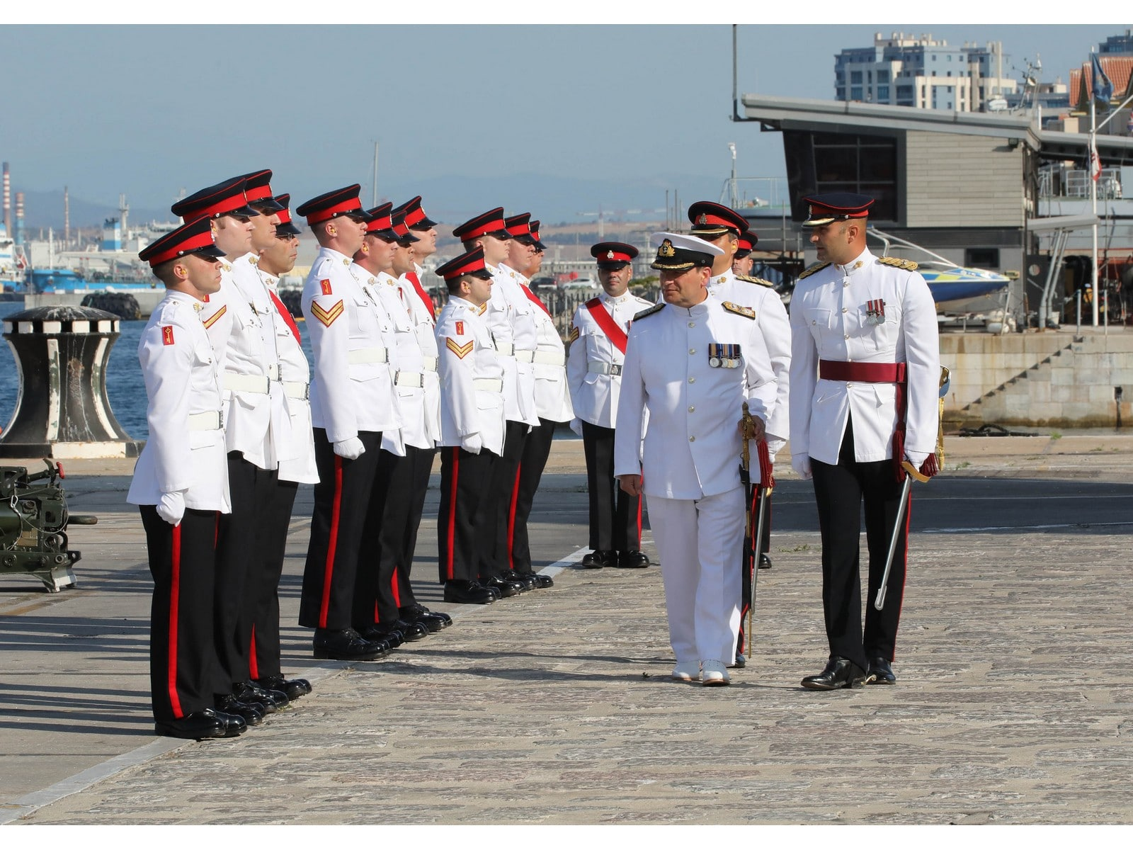Ceremony of the Change of of Commander British Forces in Gibraltar. Commodore Mike Walliker OBE RN, was replaced by commodore Tim Henry RN as CB.The ceremony was marked with a 11 gun salute outside The Tower HMNB Gibraltar hosted by the Royal Gibraltar Regiment.