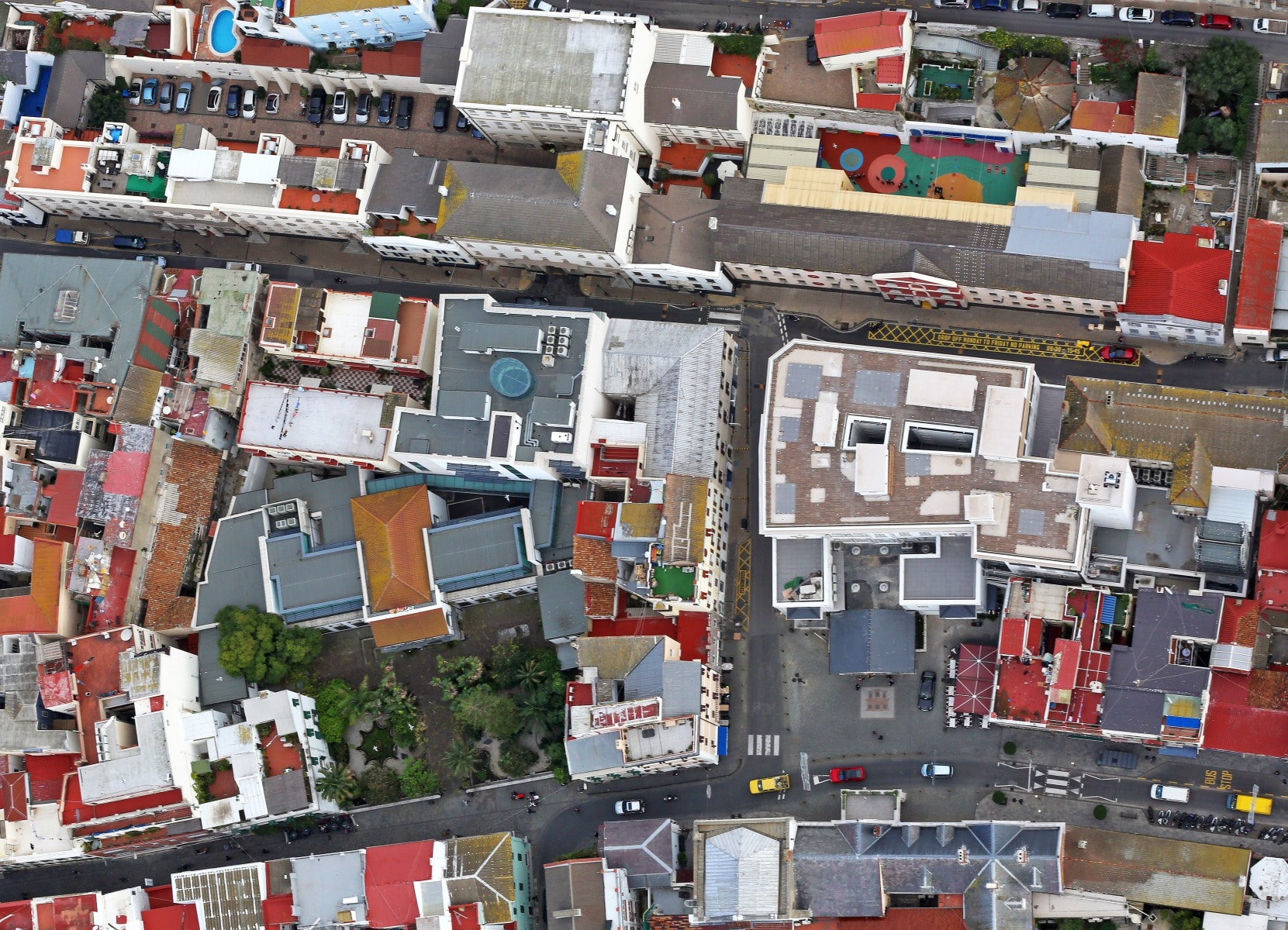 Aerial view of the urban town population of Gibraltar. Photo by Cpl Scott Robertson RAF Command Photographer British Forces Gibraltar