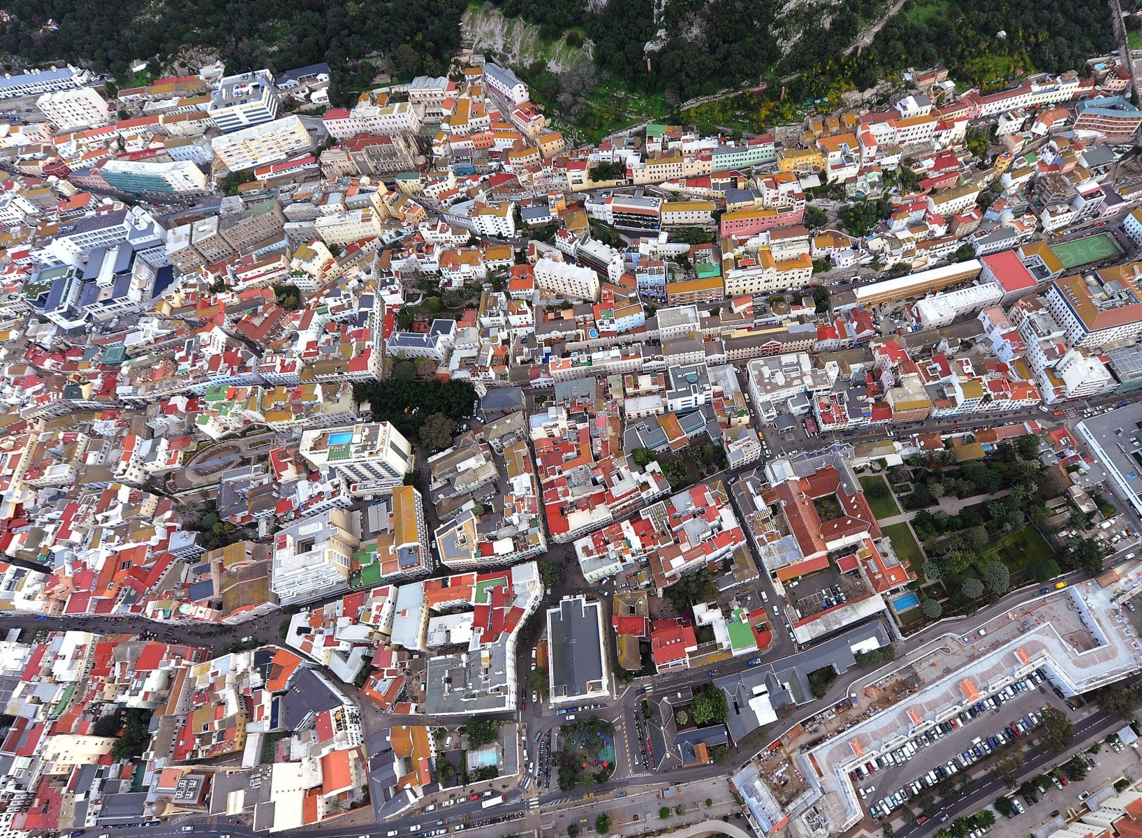 Aerial view of the urban town centre population of Gibraltar.Photo by Cpl Scott Robertson RAFCommand Photographer British Forces Gibraltar